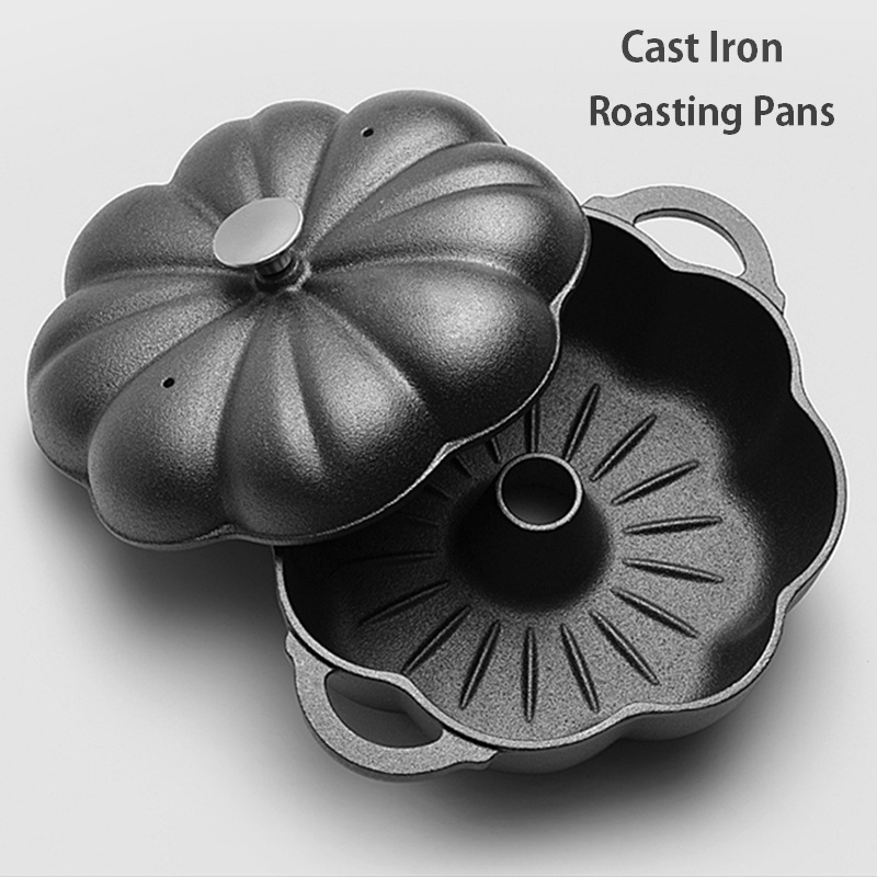 23/25/27cm Pumpkin Shape Cast Iron Roasting Pan Chicken Wings Meat BBQ Grill Sweet Potato Chestnut Roaster Baking Pot Cookware