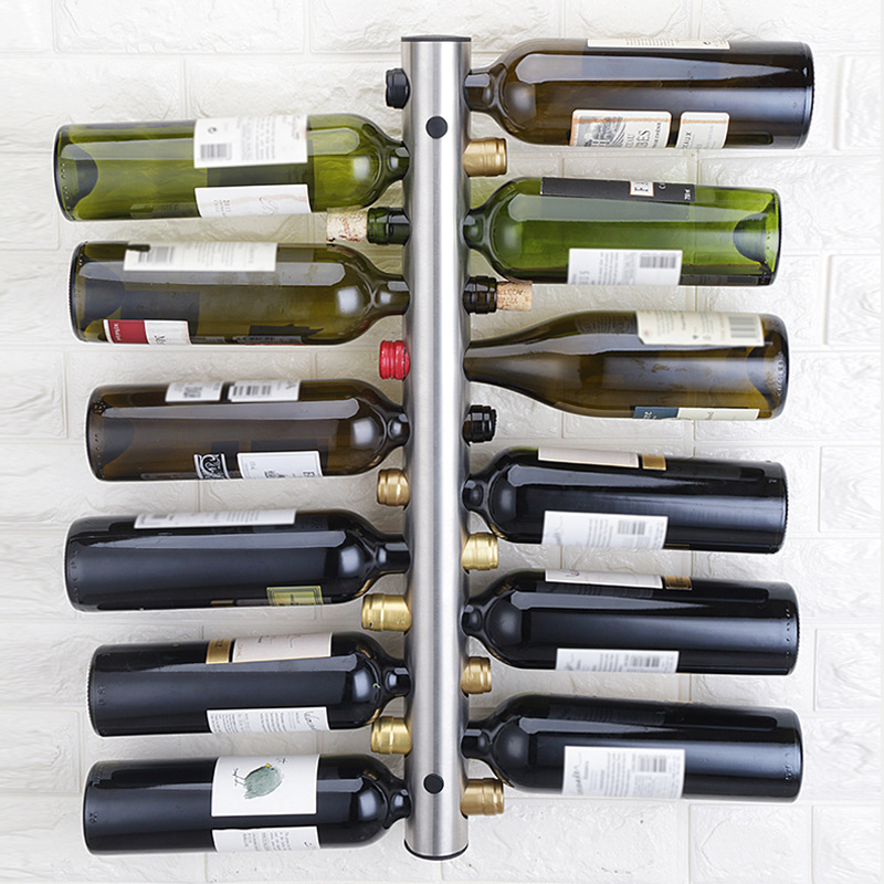 Creative Hanging 8 12 Bottle Wine Rack Stainless Steel Wall Mounted Red Wine Holder Decoration Display Vertical Metal Wine ShelfWine Racks   -