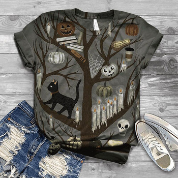 Halloween Printed Women shirt Short Sleeve Blouse With Round Neck Blouse