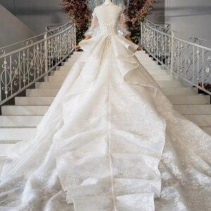 Image 5 - HTL984 boho weselny strój koronki pół rękawa latarnia koronki na szyję dziurka od klucza powrót luksusowe suknie ślubne wzburzyć pociąg vestido boda