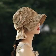 Parent-Child Hot Sell Summer Beach Sand 100% Raffia Bow Wide Brim Sun Hat Wome And Child Sunshade Bucket Hat