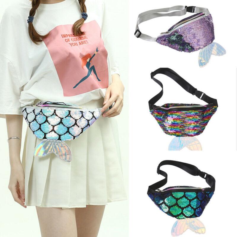 Women's Fanny Pack Colorful Sequin Waist Bag Chest Pouch Shoulder Belt Bag Cute Cartoon Baby Girls Adjustable Travel Coin Bag