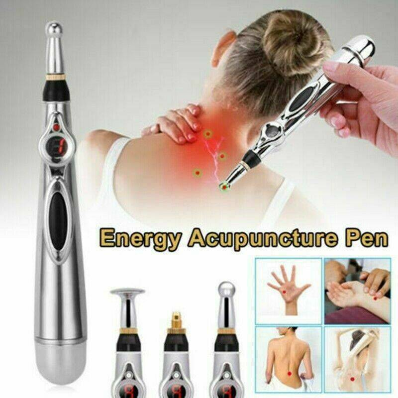 3 in 1 Meridian Energy Pen Pain Relief Electric Acupuncture Magnet Therapy Pen 9 Gears Body Massage With 3 Massage Heads