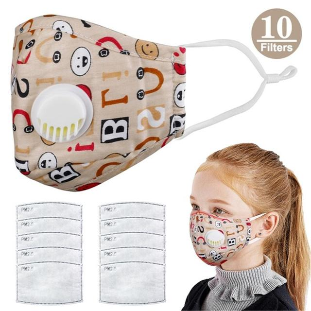 1PCS Mouth Mask Cartoon Warm Breathable Half Face Mask with 10 Filters Adjustable Reusable  Masks for Children kids Girls Boys 3