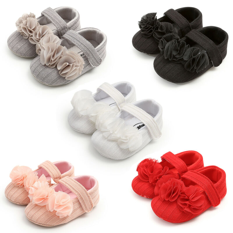 Cute Newborn Baby Girl Crib Shoes Casual Solid Color Prewalker Non-slip 3D Flower Soft Sole Kids Infant Toddler Baby Girl Shoes