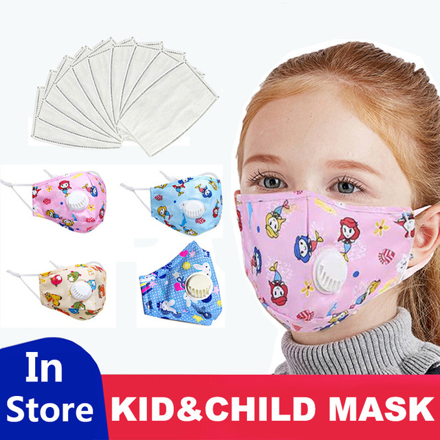 Good Quality Filter Face Mask For Children Kids Girls Boys Mouth Masks lovely pure Cotton Activated Carbon Breathable Respirator