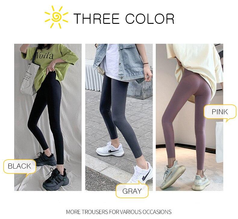 Hf42814c5effa4c28a95353934b0190710 BIVIGAOS New 3-Color Sharkskin Leggings Women Spring Summer Thin Skinny Legs Fitness Leggings Pressure Elastic Sport Leggings