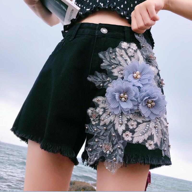2019 Summer Fashion Women High Waist Wide Leg Tassel Embroidery Flower Red Black Denim Shorts , Womens 5xl Pearls Jeans Shorts