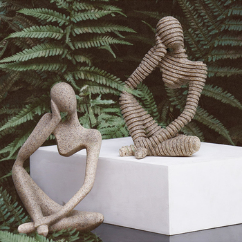 Abstract Resin Statue Yoga Thinkers Handmade Sculpture Decoration 2