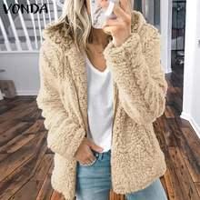VONDA/элегантные пальто из искусственного меха, теплые зимние пальто с капюшоном, куртки на молнии, длинный рукав, плотный флисовый кардиган для беременных, пальто