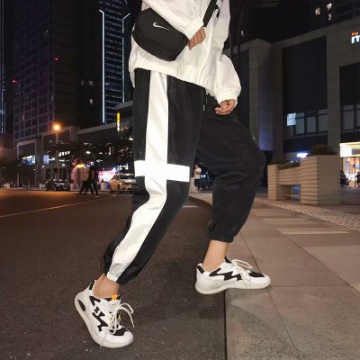 Japanese Style Hip Pop Men's Long Patchwork Reflective Track Pants Joggers Elastic Waist Side Striped Sweat Pants Trousers