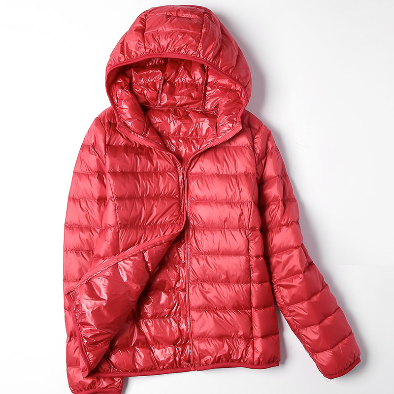 Plus Size 6XL Autumn Winter Women's   Jacket   Hooded Down Coat Female Ultra-Light Duck Parka Warm Pink Black   Basic     Jackets   Female