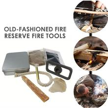 7pcs Silver Primitive Fire Starter Survival Tools Kit Flint Stone Durable Travel Bow Drill Hike Tool Outdoor Camping