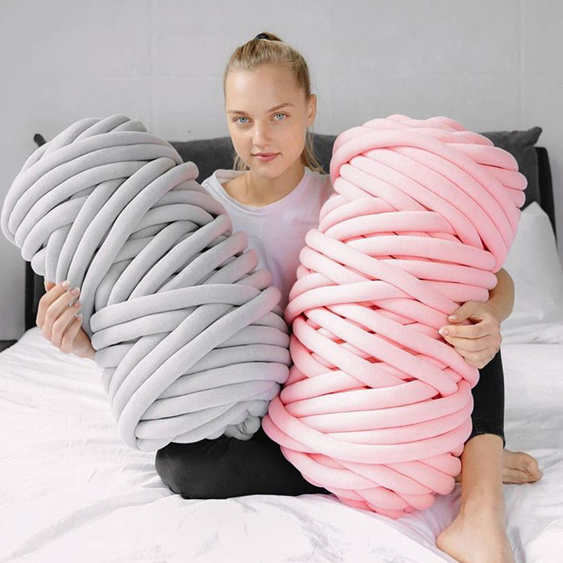 Jiwuo 500g/Roll Super Thick Chunky Yarns 2.5-5.0cm Soft Merino Wool Yarns Bulky Arm Roving Knitting Blanket Spinning Yarn Wool