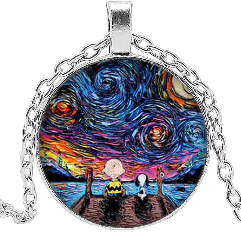 Hot 2019 Van Gogh Necklace Van Gogh 39 s Art Painting Glass Bullet Pendant Chain Necklace Fashion Jewelry Men 39 s and Women 39 s Necklac in Pendant Necklaces from Jewelry amp Accessories
