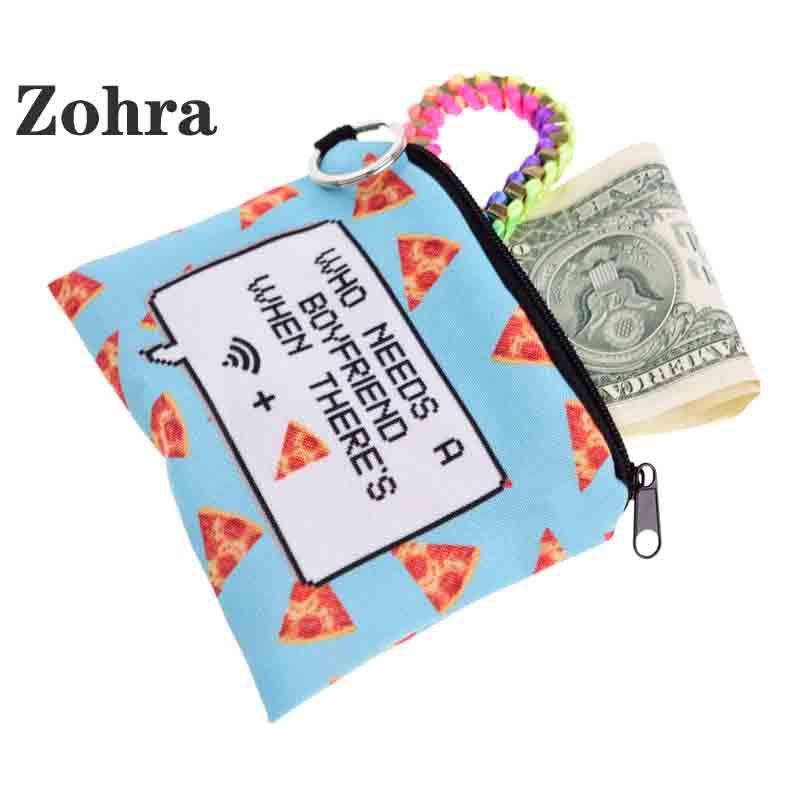 Zohra 2019 New Style Blue Pizza White Dialog Box Black Letter Square Purse