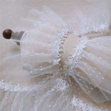 Factory Direct 12cm 2meter/lot White Mesh and Lace 2Layer Pleated Lace Trim Baby Doll Sweater Lace Beautiful X247