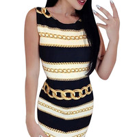 Summer Women Striped Tank Dress Sexy Round O Neck Heavy Metal Chain Print Sashes Madi Dress Casual L