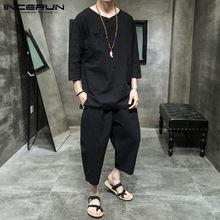 INCERUN chiński styl zestawy dla mężczyzn stałe 2021 rocznika bawełniana styl miejski przytulne 3/4 rękaw koszula i spodnie do łydki dorywczo męskie garnitury