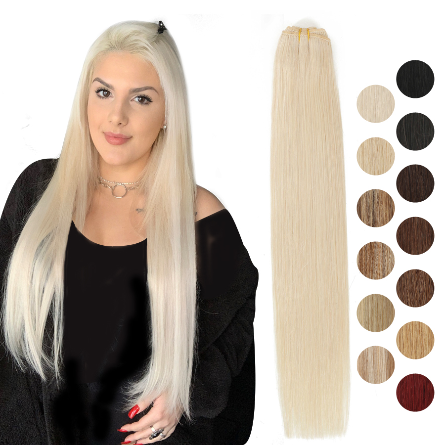 Straight Hair Weaves Machine Made Remy Human Hair Bundle Platinum Blonde Natural Hair Black Sew In Weft 12 16 20 24 Inches