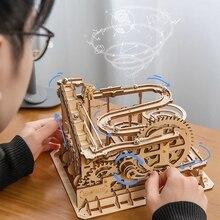 Robotime Rokr 4 вида Marble Run DIY водяные колеса деревянная модель наборы строительных блоков игрушка в сборе подарок для детей для взрослых Прямая по...
