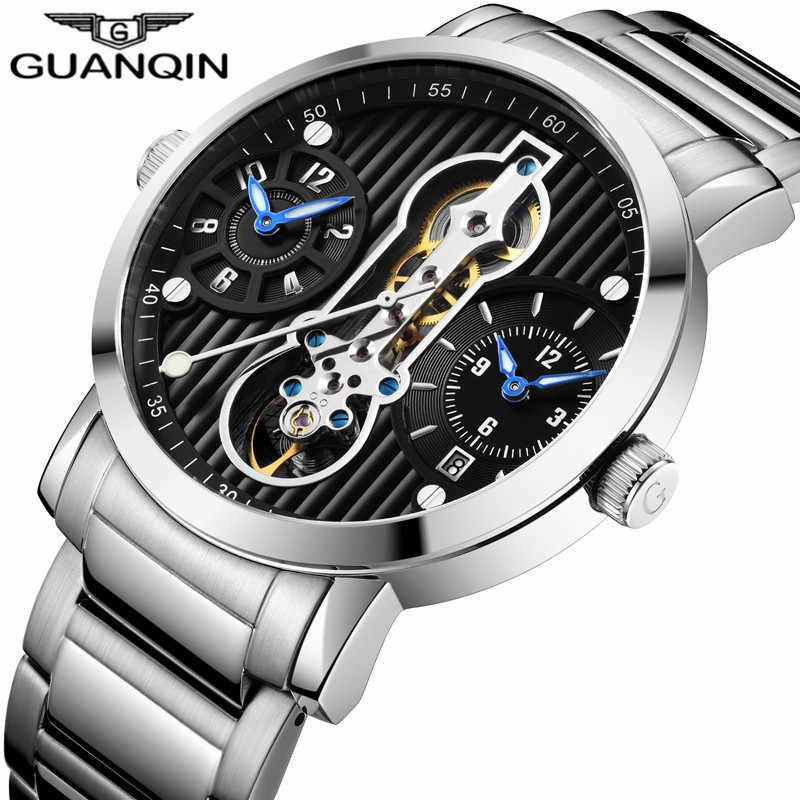 GUANQIN אוטומטי Tourbillon 3 תנועה חדש 2019 Relogio גברים שלד מכאני שעון עמיד למים צולל שעונים