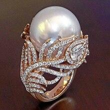 Anillos de oro rosa de hoja de perla simulada de moda para joyería de mujer Dropshipping anel anillos bagues femme declaración joyería O3P038