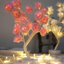 24led белый розовый цветок розы прикроватные Спальня ночной