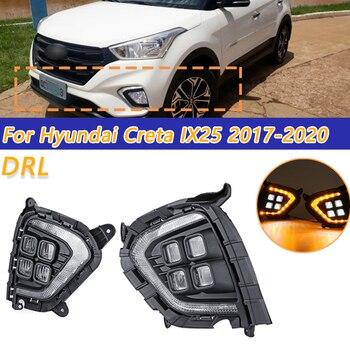 COOYIDOM 1Pair DRL For Hyundai Creta IX25 2017 2018 2019 2020 LED Daytime Running Light Fog Lamp With Yellow Turn Signal Lamp