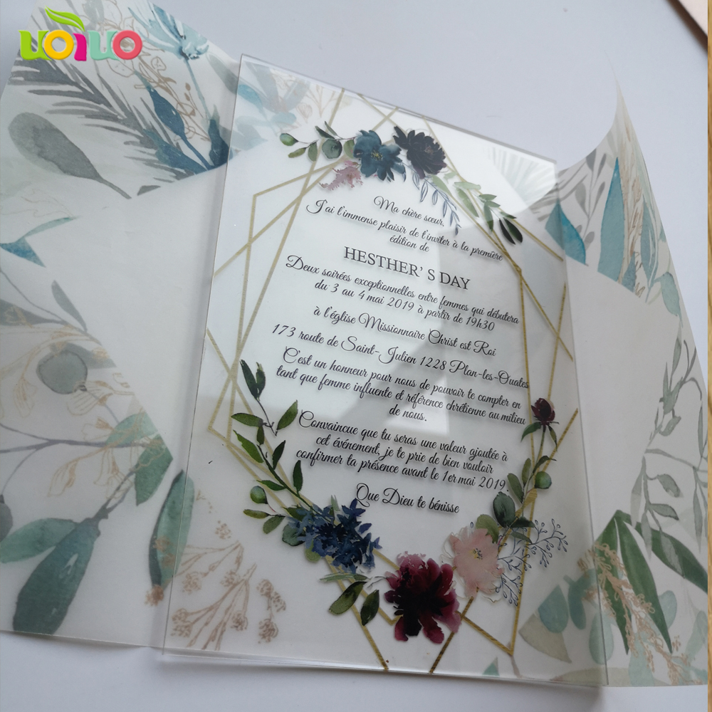 5pcs Hot Sell 2020 Wedding Favor Customize Printing Acrylic Wedding Invitation Card,birthday Card With Transparent Paper Wrapper