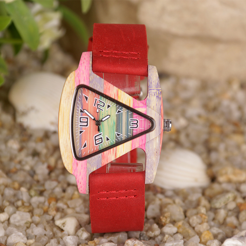 MEBENI Retro <font><b>Unisex</b></font> Fashion Womens Mens Wooden Watch Genuine Leather Lovers Wristwatch Triangle Wood Quartz Watches Horloges image
