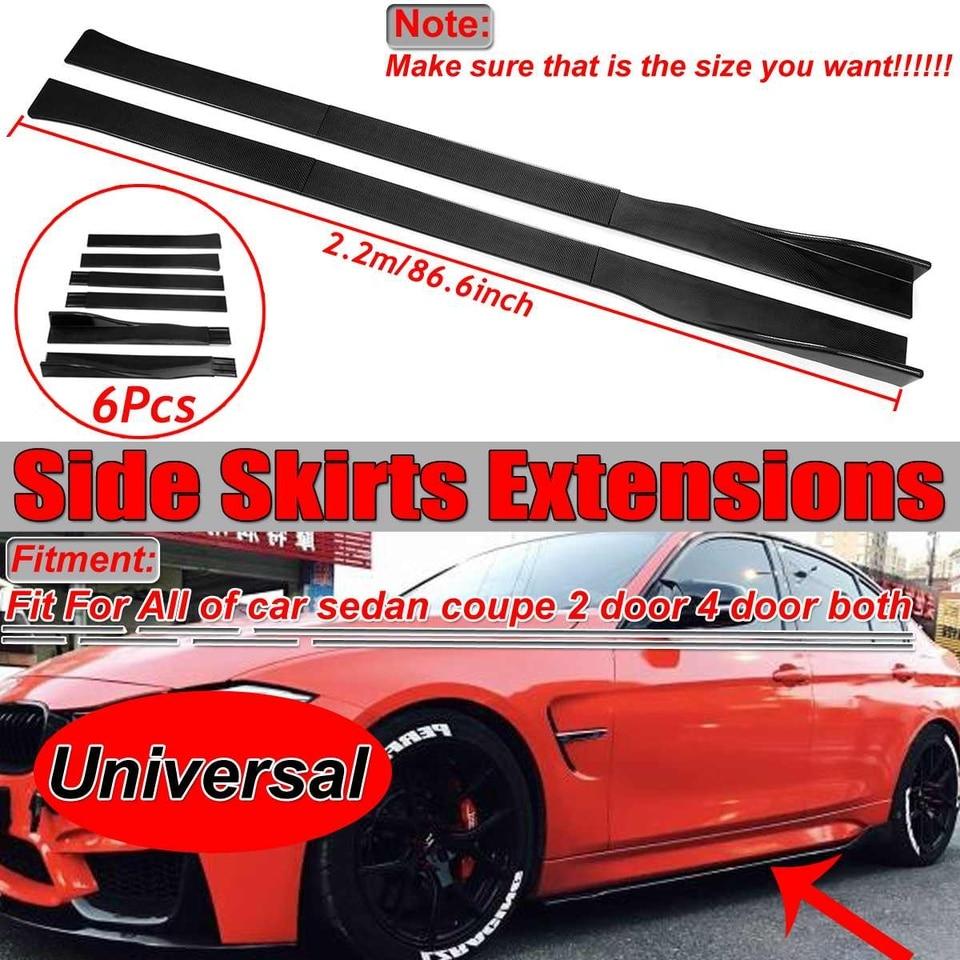 JDMBESTBOY Carbon Fiber Black Universal Car Side Skirt Extension Splitters Winglet Wing Canard