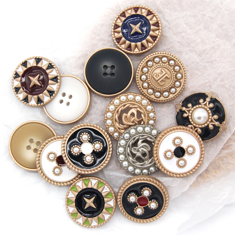 6pcs Faux Pearl Gold Metal Women Coat Buttons For Clothing Garment Decorative Large Vintage Buttons Sewing Accessories Wholesale
