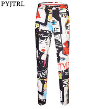PYJTRL New Tide Mens Fashion Vintage Beauty Floral Print Suit Trousers Plus Size 5XL Hip Hot Male Casual Pants Singer Stage Wear(China)