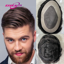 Mono NPU Men's Toupee Human Hair Wigs Indian Remy Hair Replacement Hairpiece Dark Brown With Grey Hair Wave Topper Natural Color