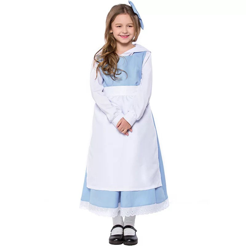 Teen & Kid Girls Beauty & Beast Belle Princess & Anice Maid Costume White Blue Maid Apron Dress Fancy Uniform For Child 4-11T image