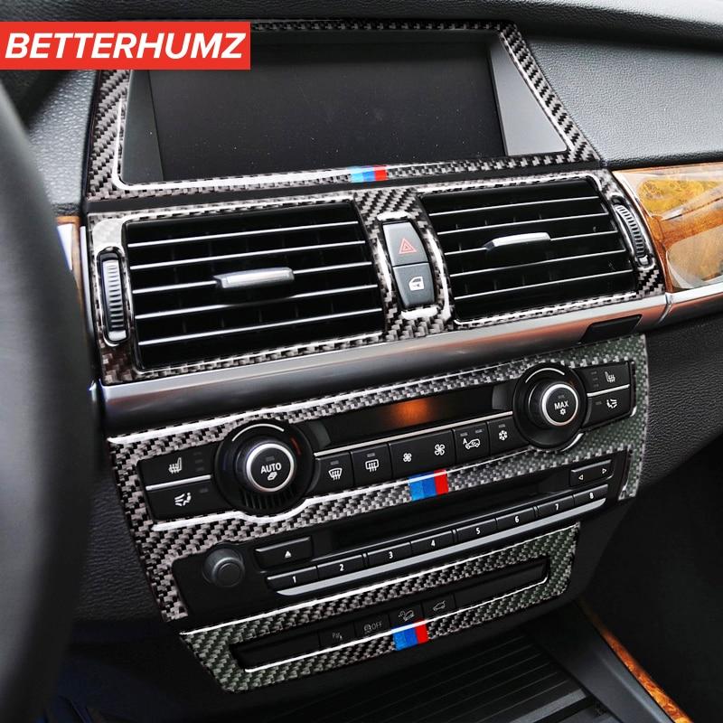 Украшение из углеродного волокна для BMW E70 E71 X5 X6, крышка для выпускного отверстия кондиционера, отделка, автомобильная наклейка, автомобильн...