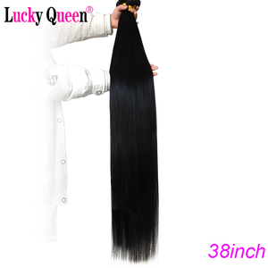 Image 2 - Lucky Queen Brazilian Straight Human Hair Bundles With Frontal 13x6 Lace Frontal With 30 Inch Bundles Remy Human Hair Extension