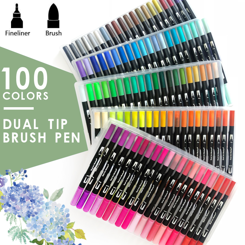 12/24/36/48/72/100/120 Dual Tip Water Color Art Marker, Brush Highlighter Pen For Hand Lettering Sketching Note