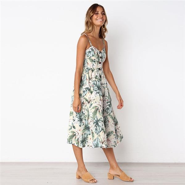 Boho Sexy Floral Dress Summer Vintage Casual Sundress Female Beach Dress Midi Button Backless Polka Dot Striped Women Dress2020  11