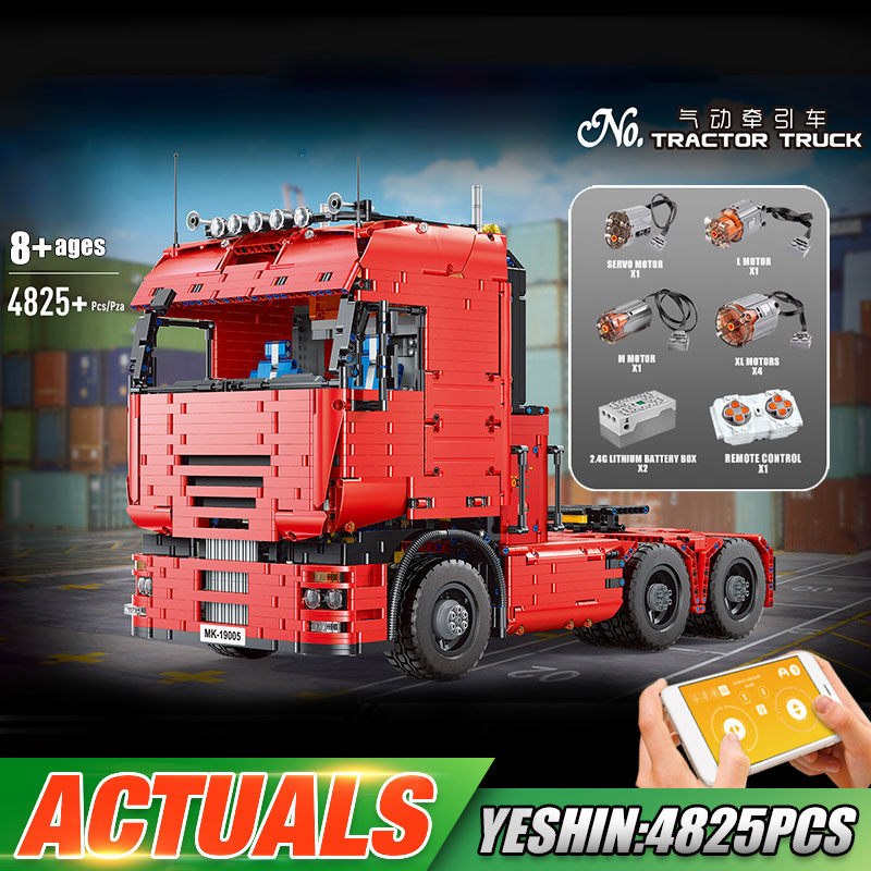 MOULD KING 19005 High-tech Car Toys MOC-2475 Motorized Tractor Truck and Trailer Model Building Block