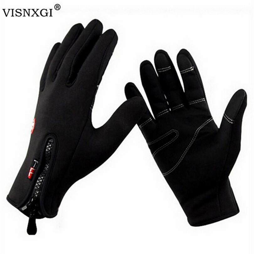 VISNXGI 2020 Women Gloves Unisex Mittens Windproof Gloves With Leather Zipper Tactical Guante For Men Winter Warm Guantes G097