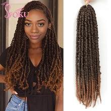 Pasión giro Crochet trenza extensión de pelo de 18/24 pulgadas 3D de giro trenza Afro Mujer Africana SOKU pelo trenzado sintético