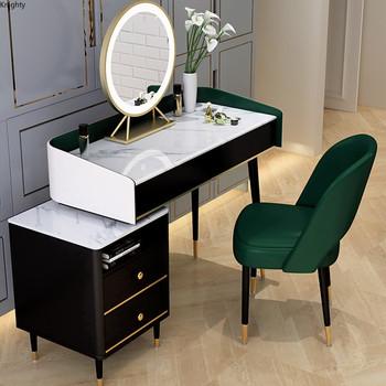 Dostosowany nowoczesny makijaż komoda fortepian toaletka komoda stół z lustrem makijaż fotel lekki luksusowy toaletka do makijażu sypialnia zestawy L tanie i dobre opinie FOSUHOUSE CN (pochodzenie) Farby Europa i Ameryka Montaż Drewniane Z LITEGO DREWNA L80 100cm China Nowoczesne modern
