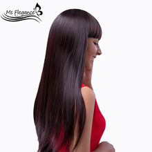 MS FLEGANCE Long Red Straight Wig Synthetic With Bangs for Women Natural Middle Cosplay Wig Heat Resistant Grey Black Daily Wigs(China)