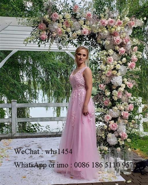 Mbcullyd V-neck Light Blue Bridesmaid Dresses For Women 2020 Long Wedding Guest Dress Applique Lace sukienki na wesele damskie 1
