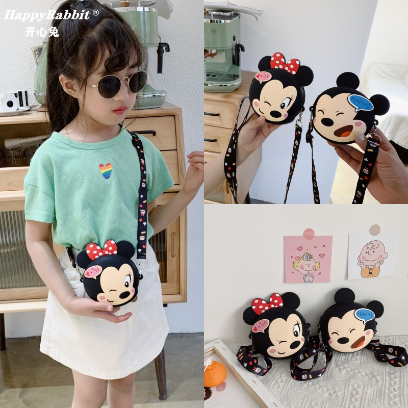 Girls Bucket Mini Shoulder Bags Kawaii Crossbody Bags For Children Cartoon Zipper Silica Gel Bucket Bag Coin Purse With Strap