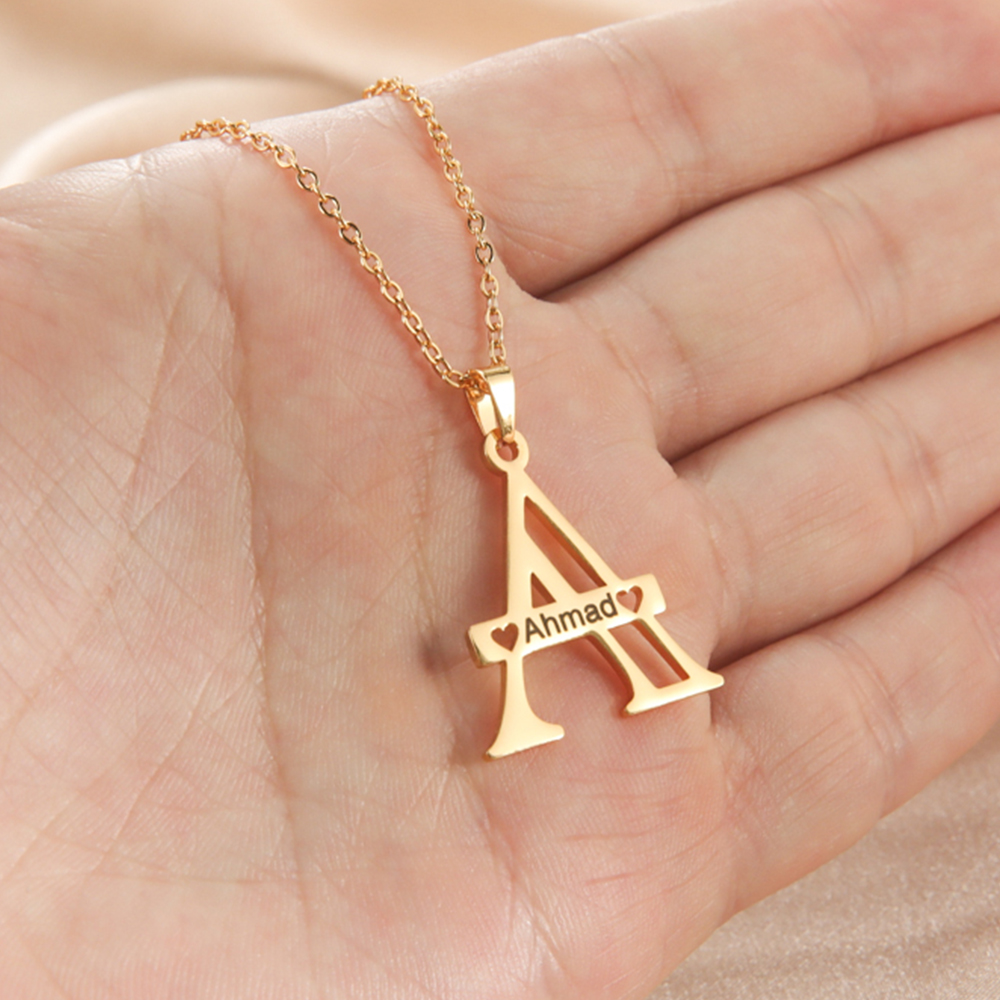 Lemegeton Personalized Initial Name Necklaces Customized Engrave Name Big First Letter Uppercase Choker Necklace For Women Men