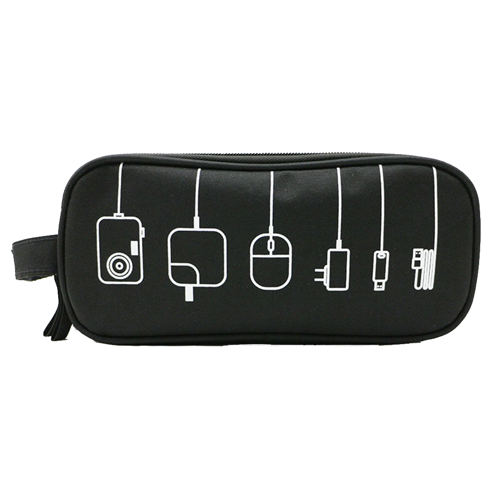 Digital Gadget Travel Multifunctional USB Cable Storage Bag Electronics Earphone Pouch Case Portable Practical Zipper Polyester