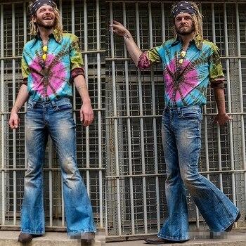 Vaqueros acampanados a la moda para Hombre, pantalones Vaqueros con pierna Bootcut,...